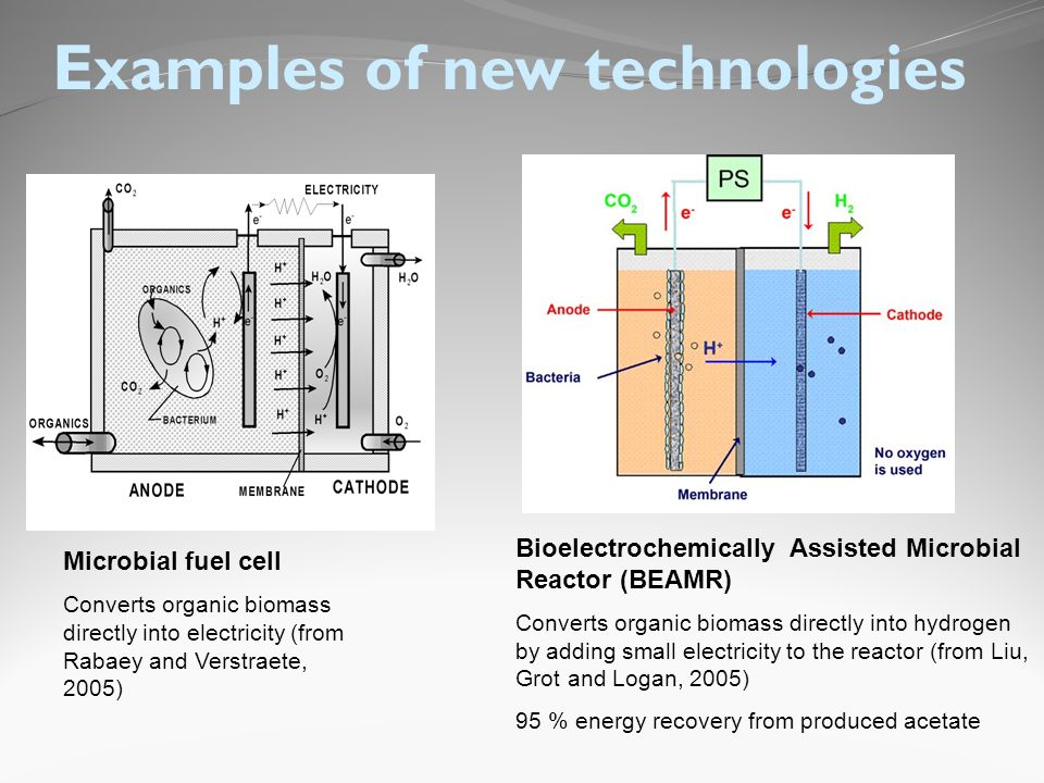 Examples of new technologies Microbial fuel cell Converts organic biomass directly into electricity (from Rabaey and Verstraete, 2005) Bioelectrochemically Assisted Microbial Reactor (BEAMR) Converts organic biomass directly into hydrogen by adding small electricity to the reactor (from Liu, Grot and Logan, 2005) 95 % energy recovery from produced acetate