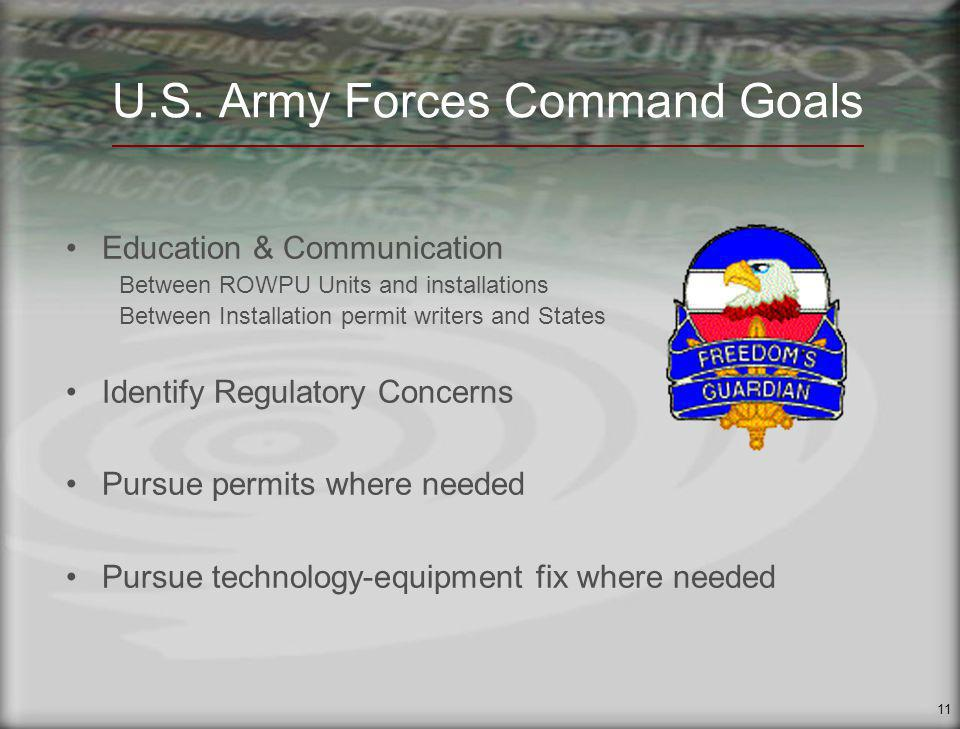 11 U.S. Army Forces Command Goals Education & Communication Between ROWPU Units and installations Between Installation permit writers and States Ident