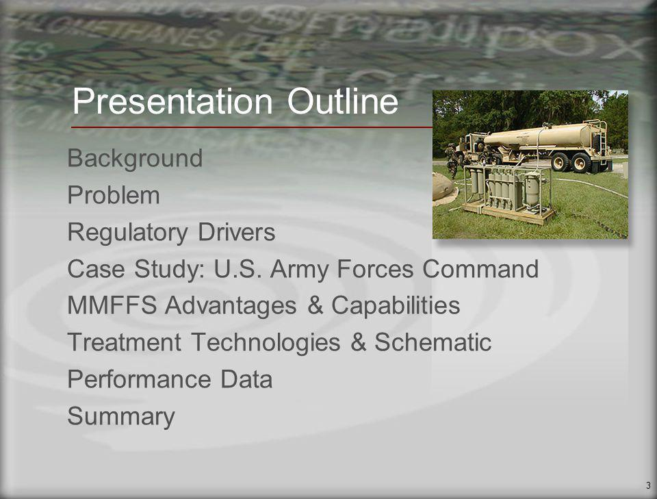 4 Background Military field operations require water for multiple needs Two current Reverse Osmosis Water Purification Units (ROWPU) in service: 3000 GPH and 600 GPH ROWPU Operation and maintenance procedures generate 4 types of wastewater: RO reject RO backwash ROM Cleaning Waste Chlorinated Product Water