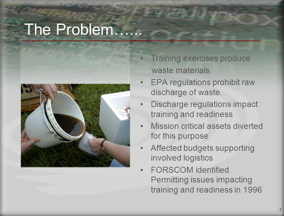 7 The Problem…... Training exercises produce waste materials.