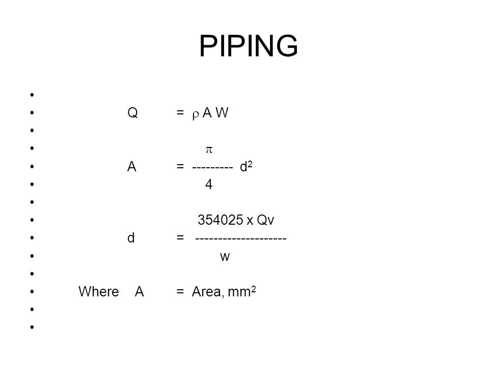 Q= A W A= --------- d 2 4 354025 x Qv d= -------------------- w Where A= Area, mm 2 PIPING