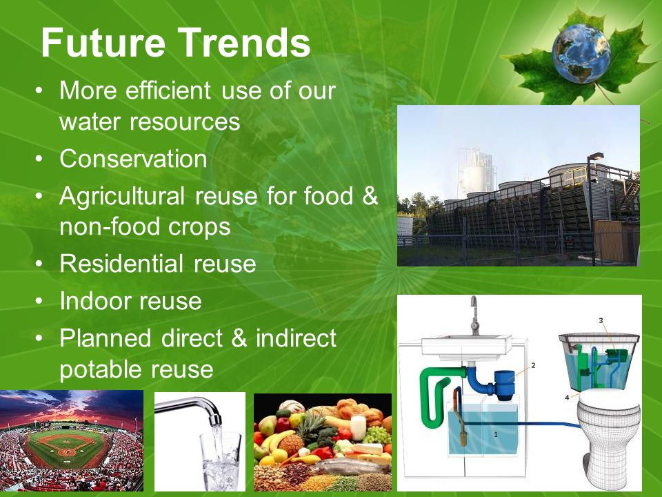 Future Trends More efficient use of our water resources Conservation Agricultural reuse for food & non-food crops Residential reuse Indoor reuse Planned direct & indirect potable reuse