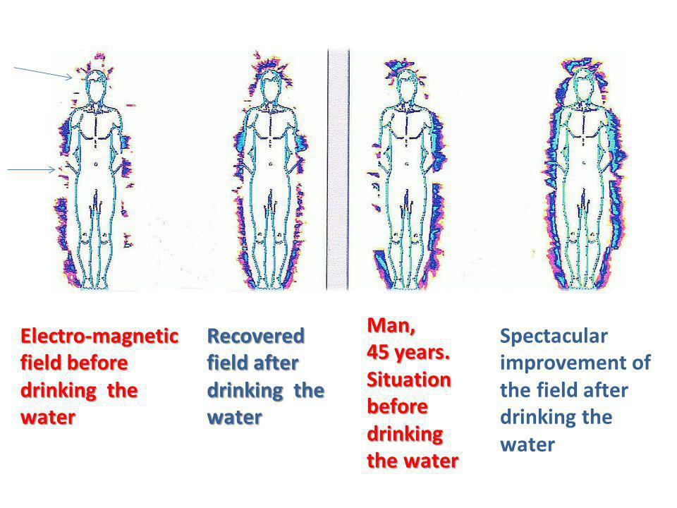 Electro-magnetic field before drinking the water Recovered field after drinking the water Man, 45 years.