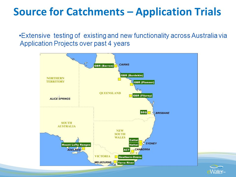 Source for Catchments – Application Trials Extensive testing of existing and new functionality across Australia via Application Projects over past 4 years