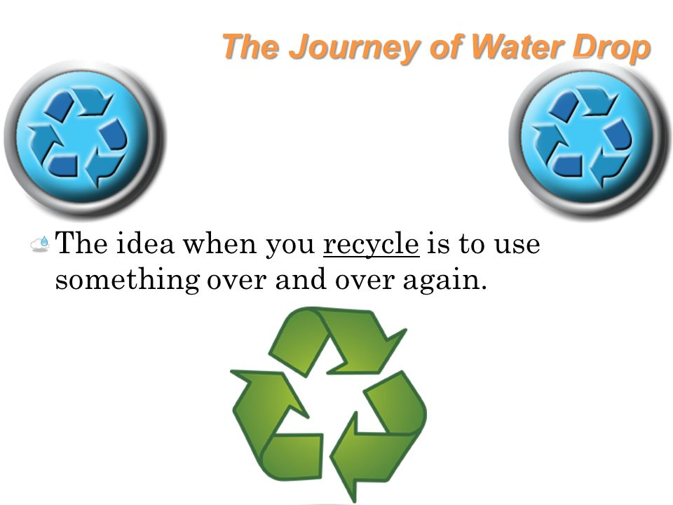 The Journey of Water Drop The idea when you recycle is to use something over and over again.