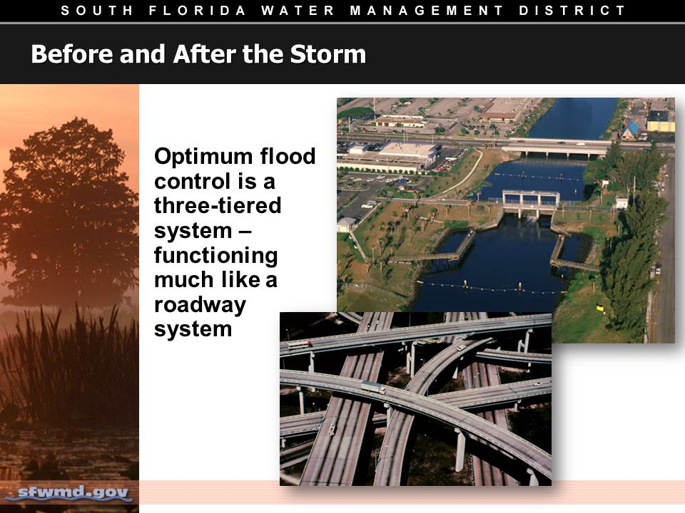 Before and After the Storm Optimum flood control is a three-tiered system – functioning much like a roadway system