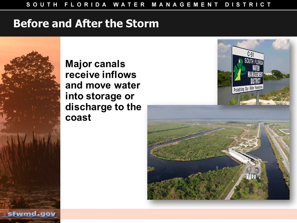 Before and After the Storm Major canals receive inflows and move water into storage or discharge to the coast