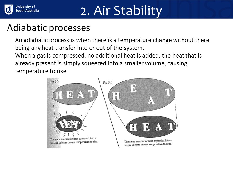 2. Air Stability Adiabatic processes An adiabatic process is when there is a temperature change without there being any heat transfer into or out of t