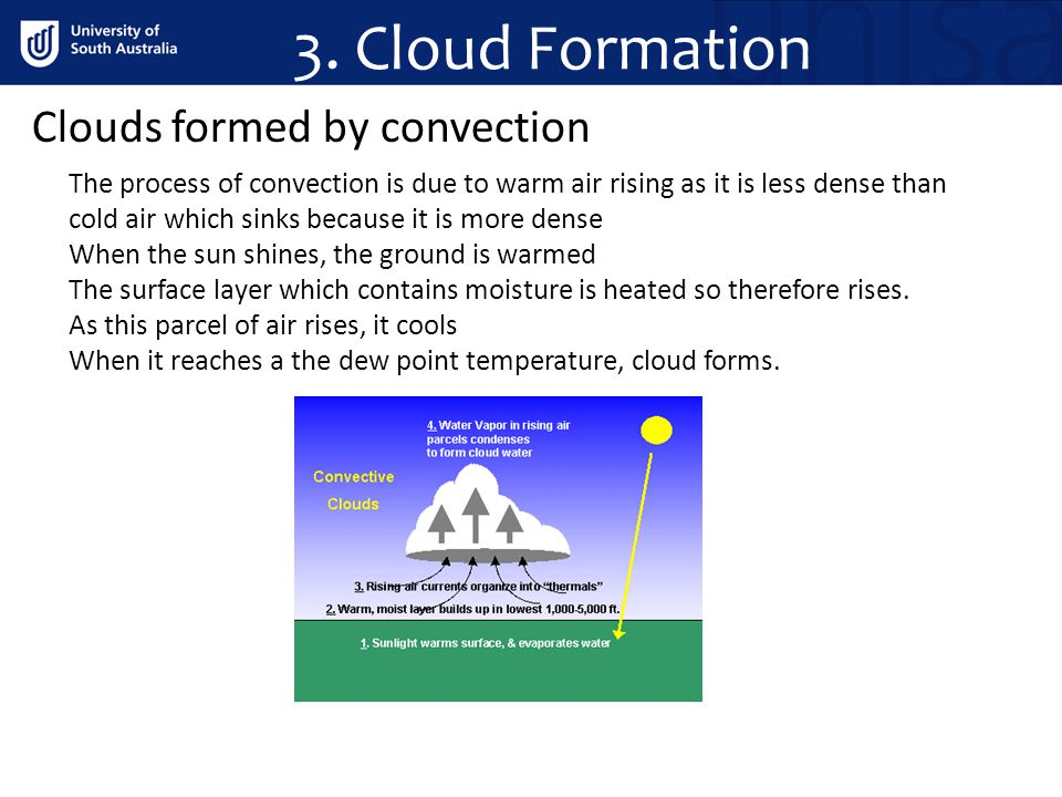3. Cloud Formation Clouds formed by convection The process of convection is due to warm air rising as it is less dense than cold air which sinks becau