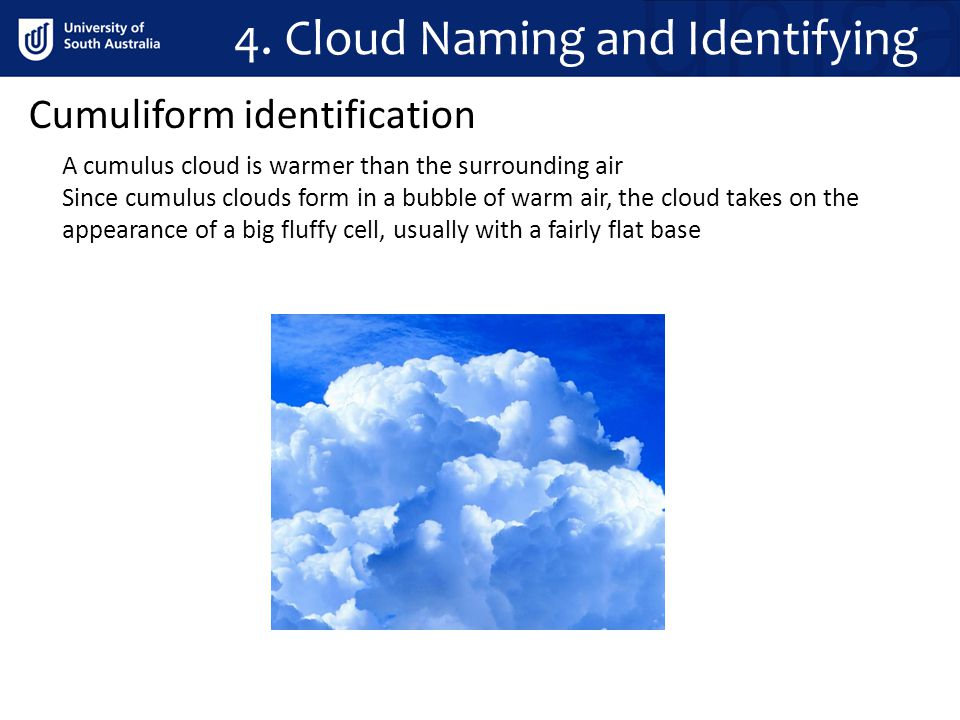 4. Cloud Naming and Identifying Cumuliform identification A cumulus cloud is warmer than the surrounding air Since cumulus clouds form in a bubble of