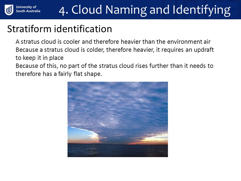 4. Cloud Naming and Identifying Stratiform identification A stratus cloud is cooler and therefore heavier than the environment air Because a stratus c