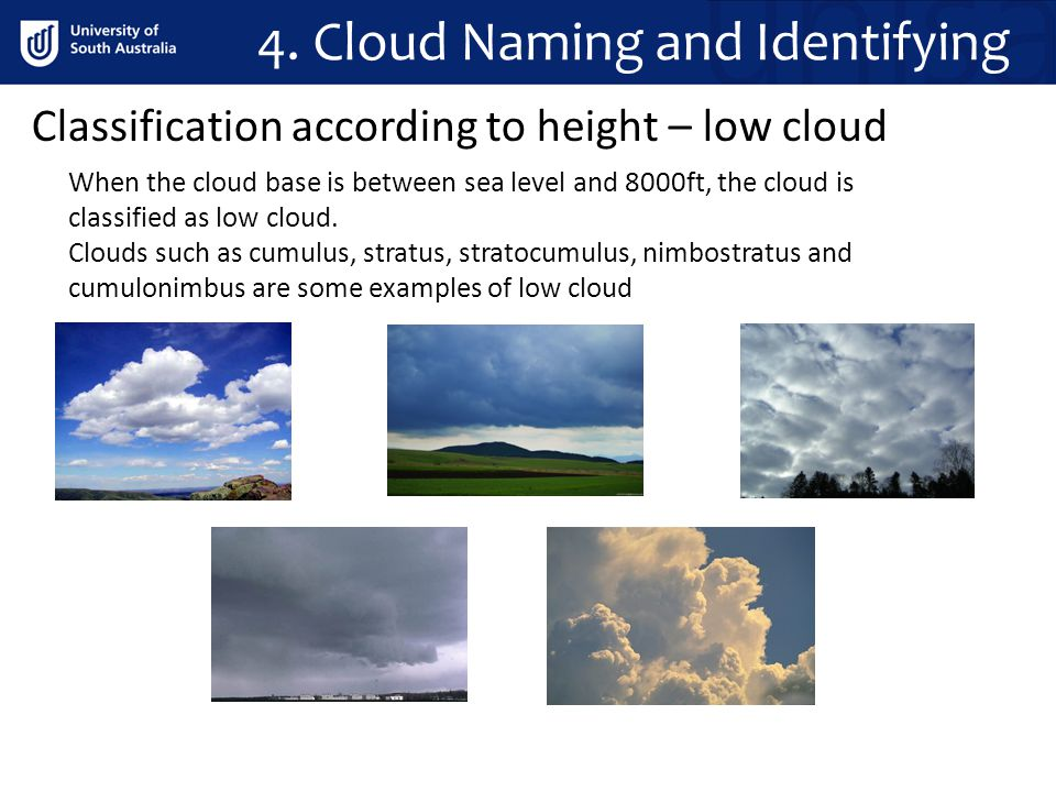 4. Cloud Naming and Identifying Classification according to height – low cloud When the cloud base is between sea level and 8000ft, the cloud is class