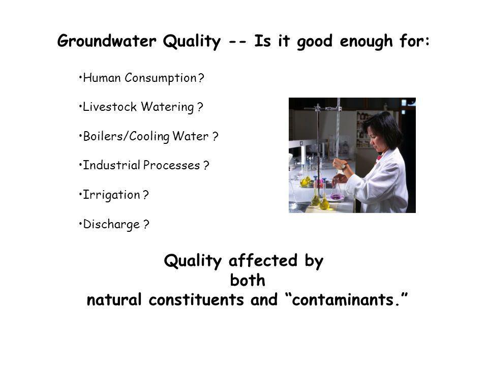 Groundwater Quality -- Is it good enough for: Human Consumption .