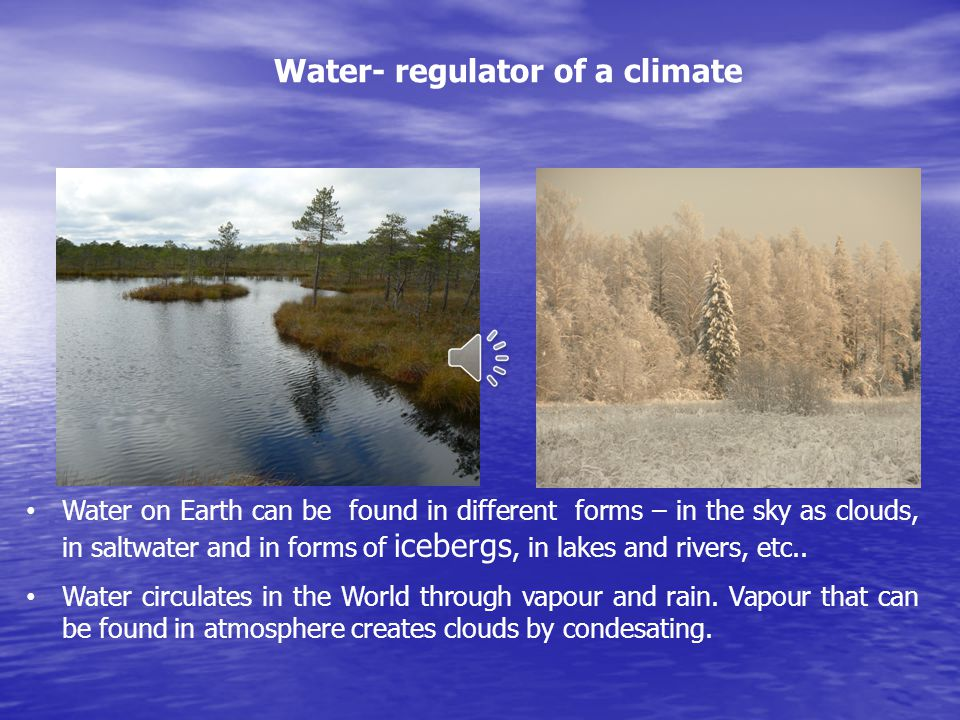 Water on Earth can be found in different forms – in the sky as clouds, in saltwater and in forms of icebergs, in lakes and rivers, etc.. Water circula