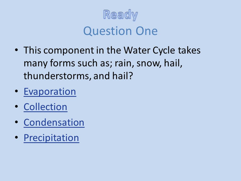 This component in the Water Cycle takes many forms such as; rain, snow, hail, thunderstorms, and hail? Evaporation Collection Condensation Precipitati