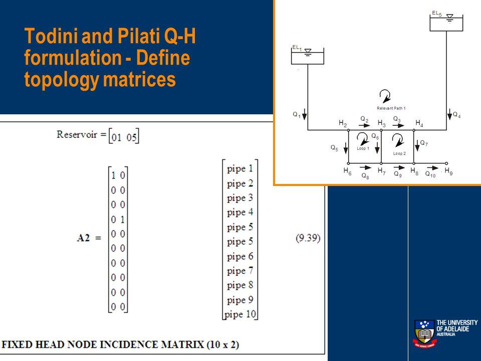 Todini and Pilati Q-H formulation - Define topology matrices