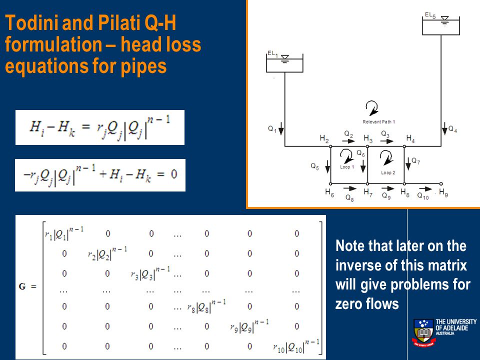 Todini and Pilati Q-H formulation - continuity at nodes