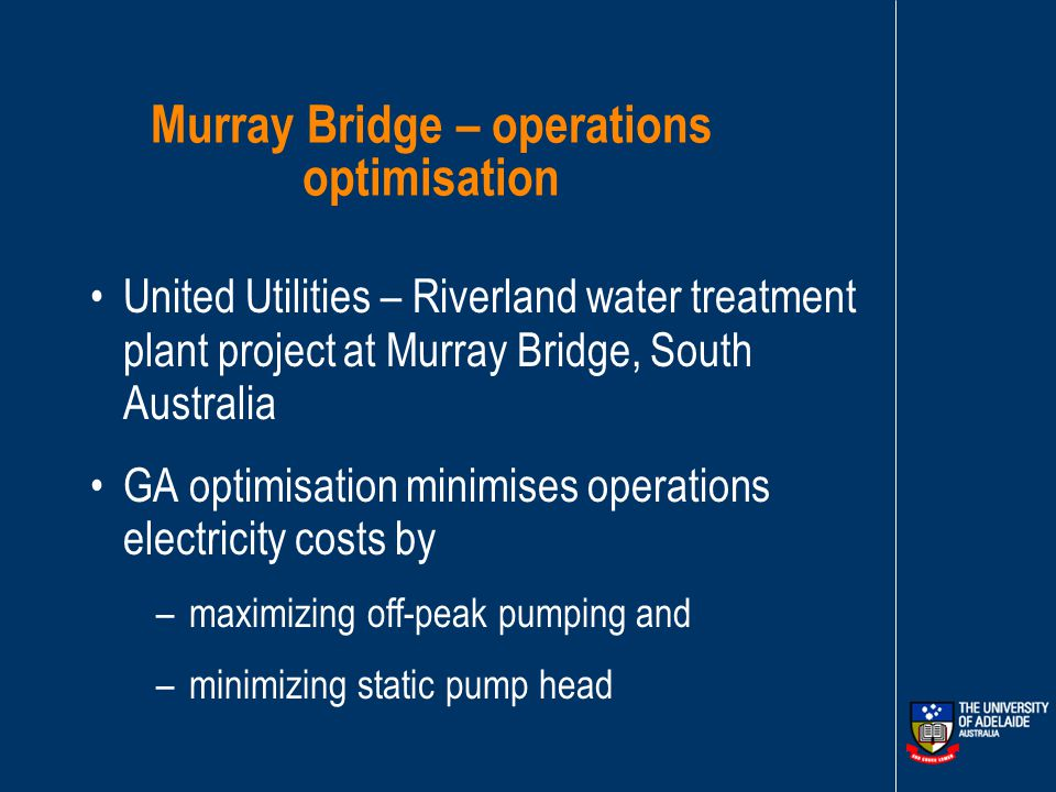 Optimisation of pumping plant operations