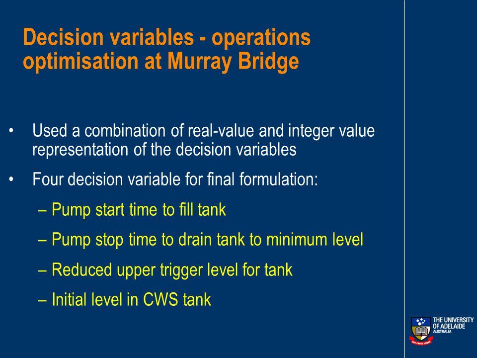Optimisation-Simulation Model Link GA OPTIMISATION MODEL HYDRAULIC SIMULATION MODEL Operating policies for pumping system - trigger levels, schedules for pumps turning on and turning off Model operation