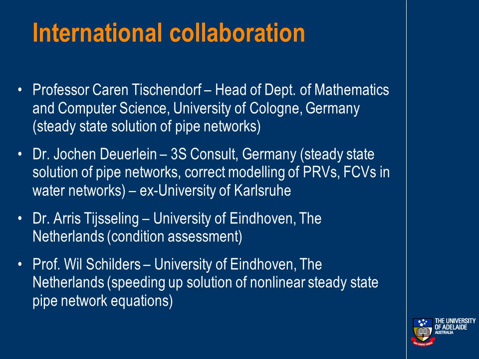 International collaboration Professor Caren Tischendorf – Head of Dept.