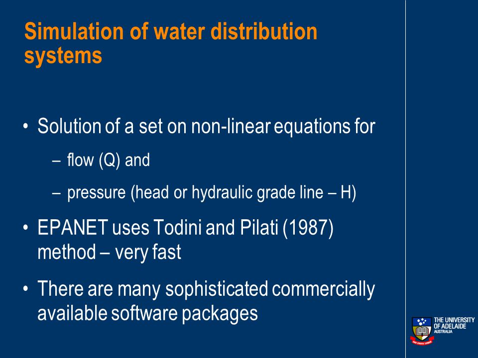 GENETIC ALGORITHMS FOR OPTIMISATION OF WATER DISTRIBUTION SYSTEMS