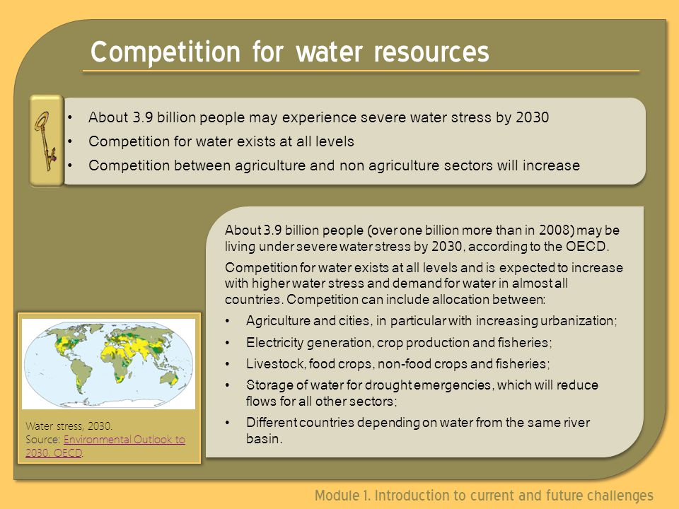 Competition for water resources About 3.9 billion people (over one billion more than in 2008) may be living under severe water stress by 2030, according to the OECD.