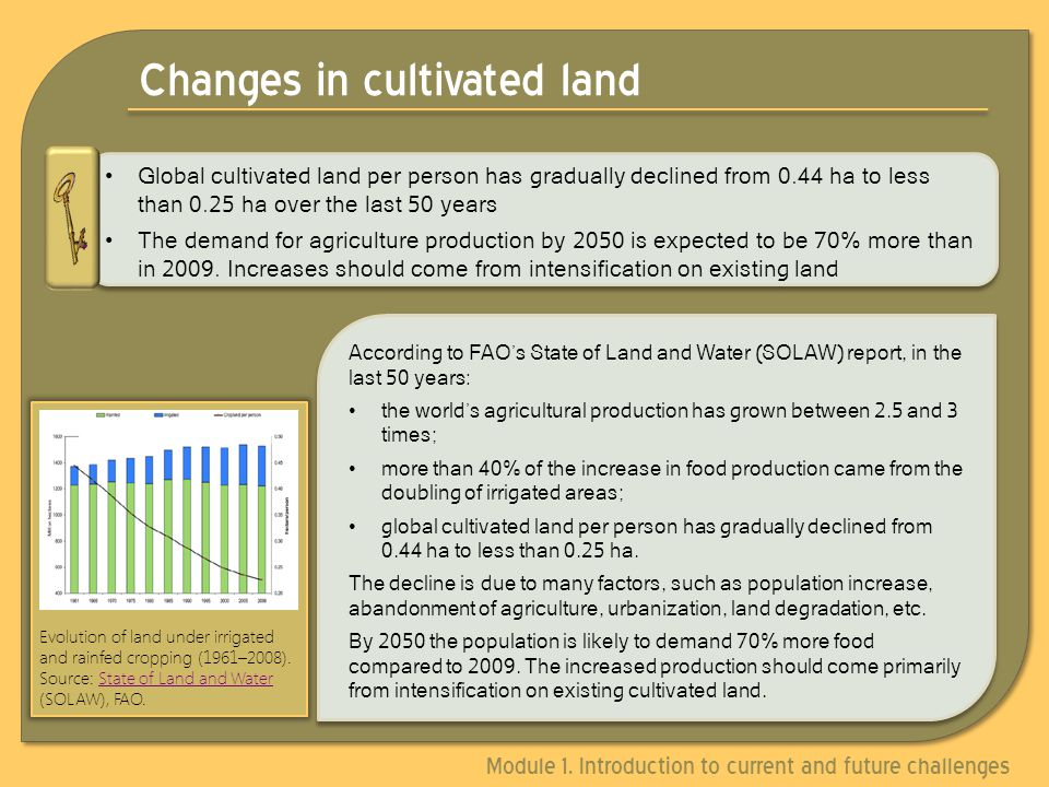 Changes in cultivated land Global cultivated land per person has gradually declined from 0.44 ha to less than 0.25 ha over the last 50 years The demand for agriculture production by 2050 is expected to be 70% more than in 2009.