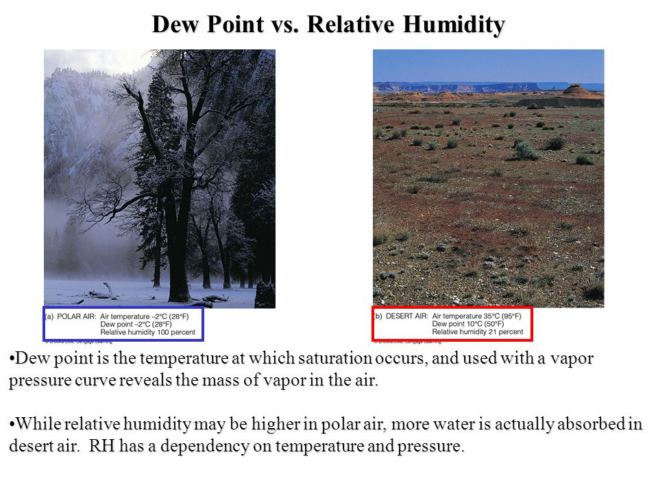 Dew Point vs. Relative Humidity Dew point is the temperature at which saturation occurs, and used with a vapor pressure curve reveals the mass of vapo