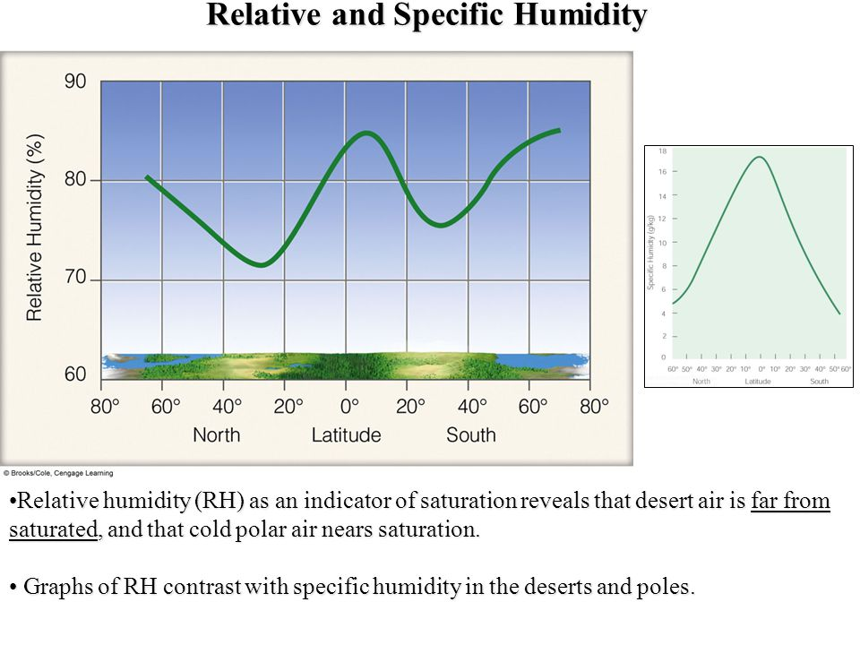 Relative and Specific Humidity Relative humidity (RH) as an indicator of saturation reveals that desert air is far from saturated, and that cold polar