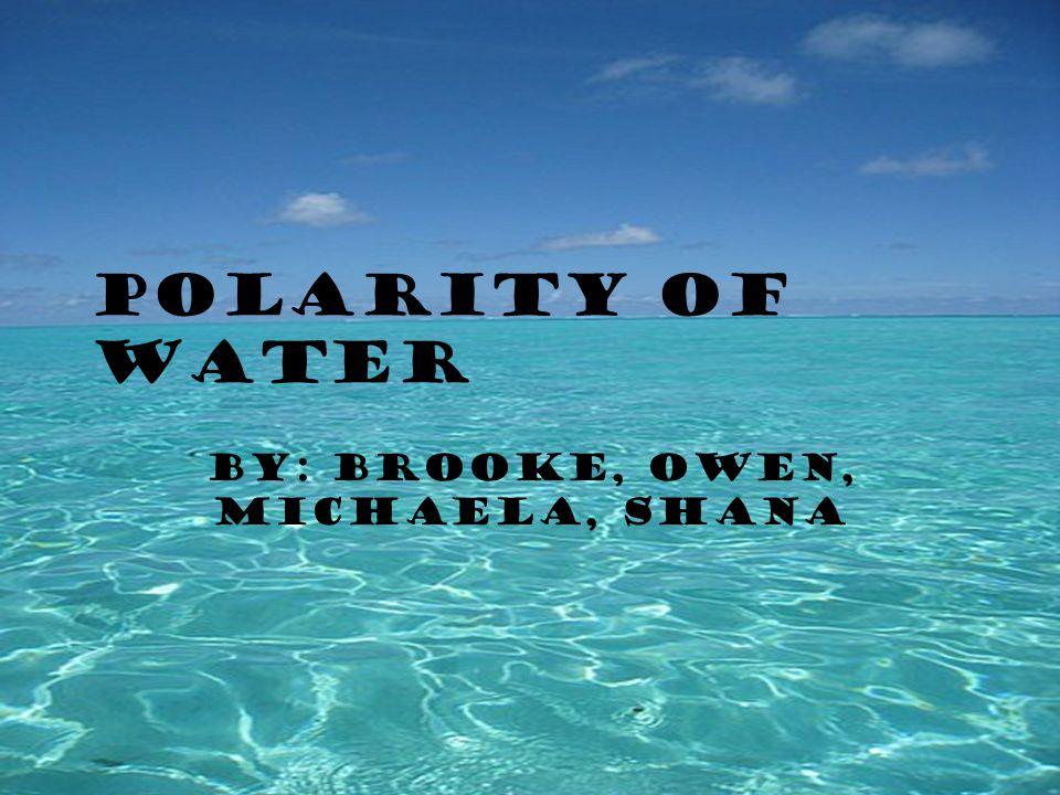 Polarity of Water By: Brooke, Owen, Michaela, Shana