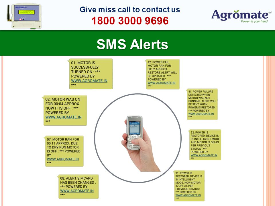 SMS Alerts Give miss call to contact us 1800 3000 9696