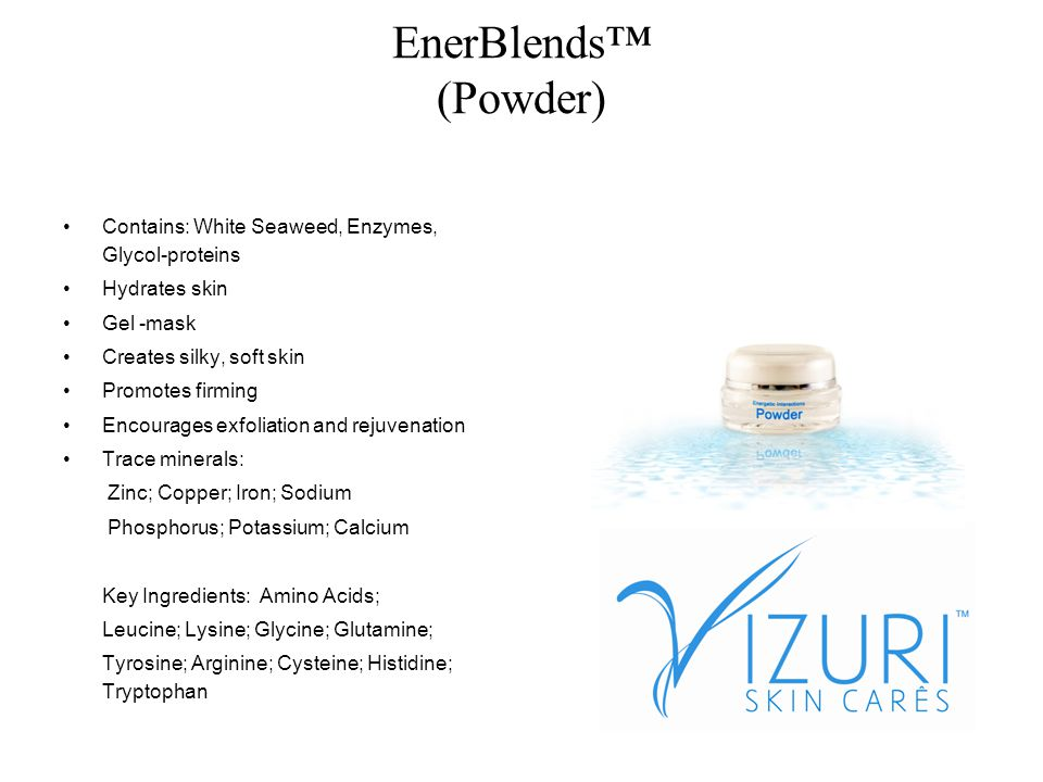 AcceleratorPro (Accelerator) Accelerates Energens water base solution Promotes increased collagen Rejuvenates skin cells Lightens hyper-pigmentation Contains: Biofalvonids- (nature s biological response modifiers) Amino Acids, Silicon Minerals- Zinc, Copper Cetearyl Alcohol Key Ingredient: Vitamin C- Antioxidant