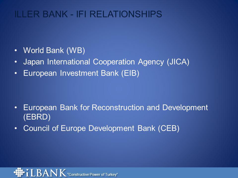 Constructive Power of Turkey ILLER BANK - IFI RELATIONSHIPS World Bank (WB) Japan International Cooperation Agency (JICA) European Investment Bank (EI