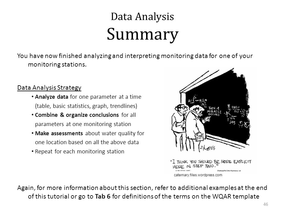 Data Analysis Summary You have now finished analyzing and interpreting monitoring data for one of your monitoring stations.