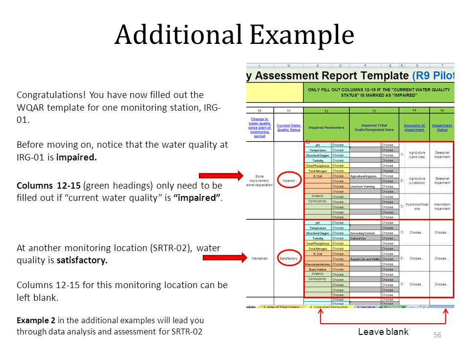 Example 2 in the additional examples will lead you through data analysis and assessment for SRTR-02 Additional Example Congratulations.