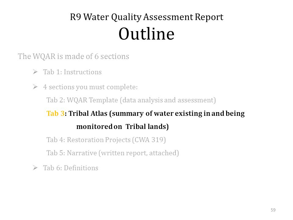 The WQAR is made of 6 sections Tab 1: Instructions 4 sections you must complete: Tab 2: WQAR Template (data analysis and assessment) Tab 3: Tribal Atlas (summary of water existing in and being monitored on Tribal lands) Tab 4: Restoration Projects (CWA 319) Tab 5: Narrative (written report, attached) Tab 6: Definitions R9 Water Quality Assessment Report Outline 59
