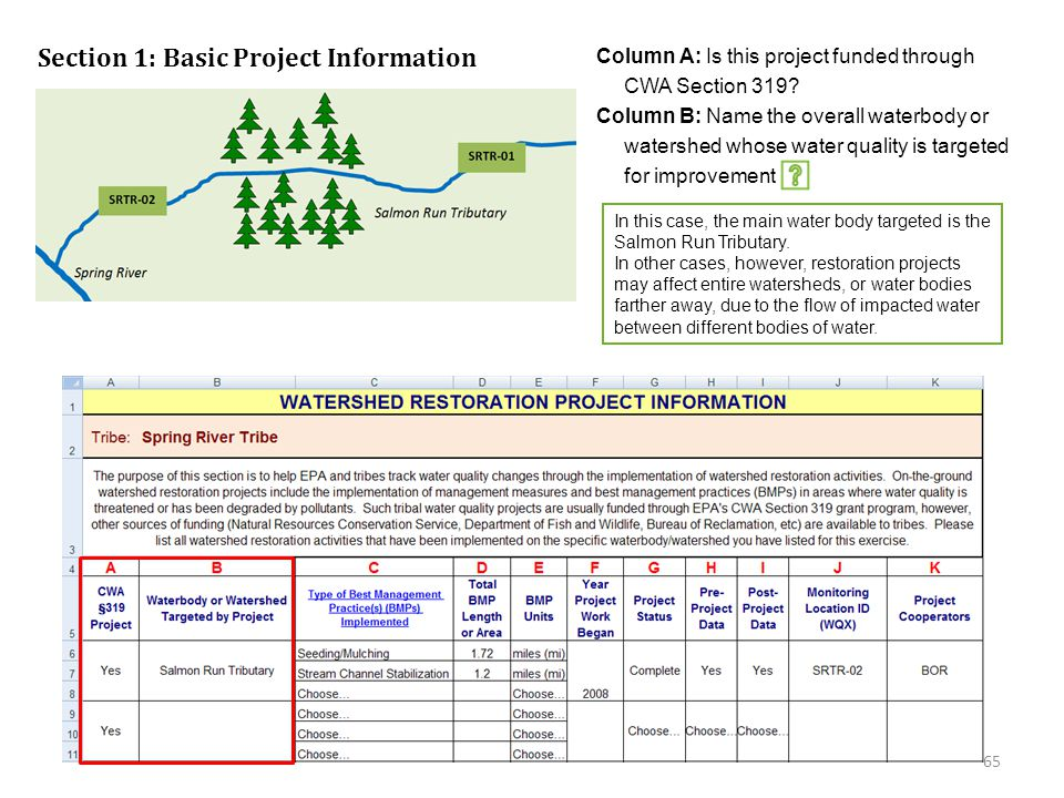Click on the green box for an explanation of the answers shown below Section 1: Basic Project Information Column A: Is this project funded through CWA Section 319.