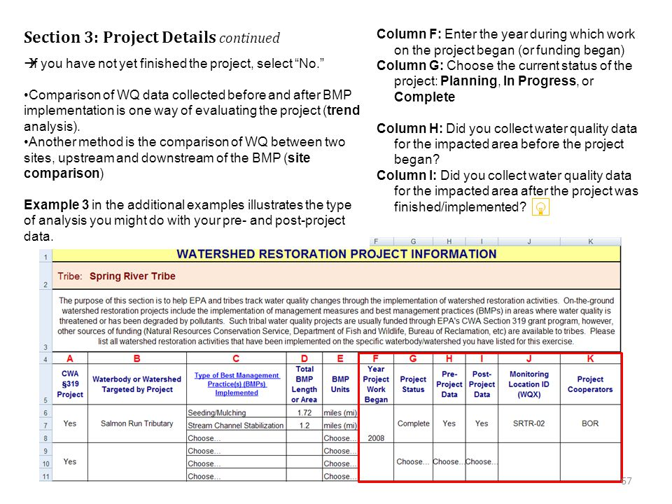 Section 3: Project Details continued Column F: Enter the year during which work on the project began (or funding began) Column G: Choose the current status of the project: Planning, In Progress, or Complete Column H: Did you collect water quality data for the impacted area before the project began.