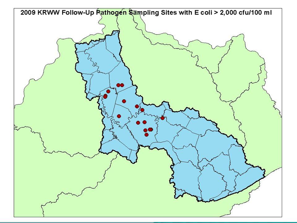 2007 Follow-Up Pathogen Sampling Sites > 5,000 cfu/100 ml