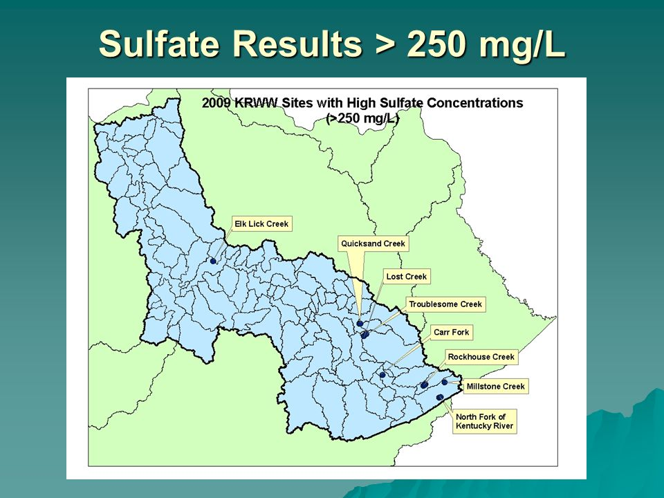 Sulfate Results > 250 mg/L