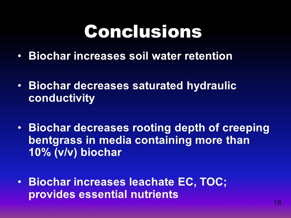 Biochar increases soil water retention Biochar decreases saturated hydraulic conductivity Biochar decreases rooting depth of creeping bentgrass in med