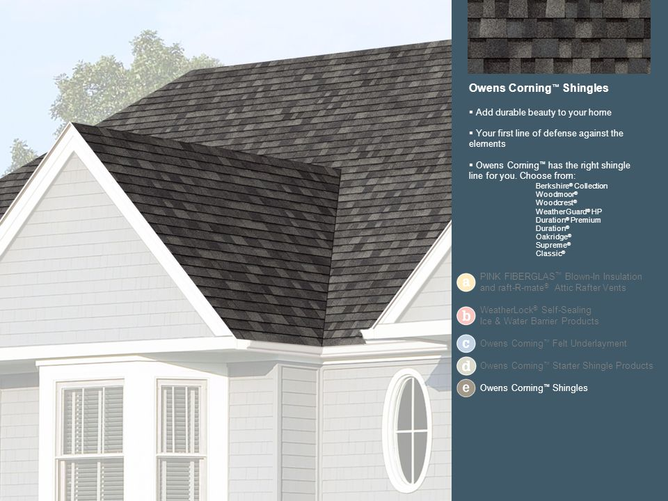Owens Corning Shingles Add durable beauty to your home Your first line of defense against the elements Owens Corning has the right shingle line for you.