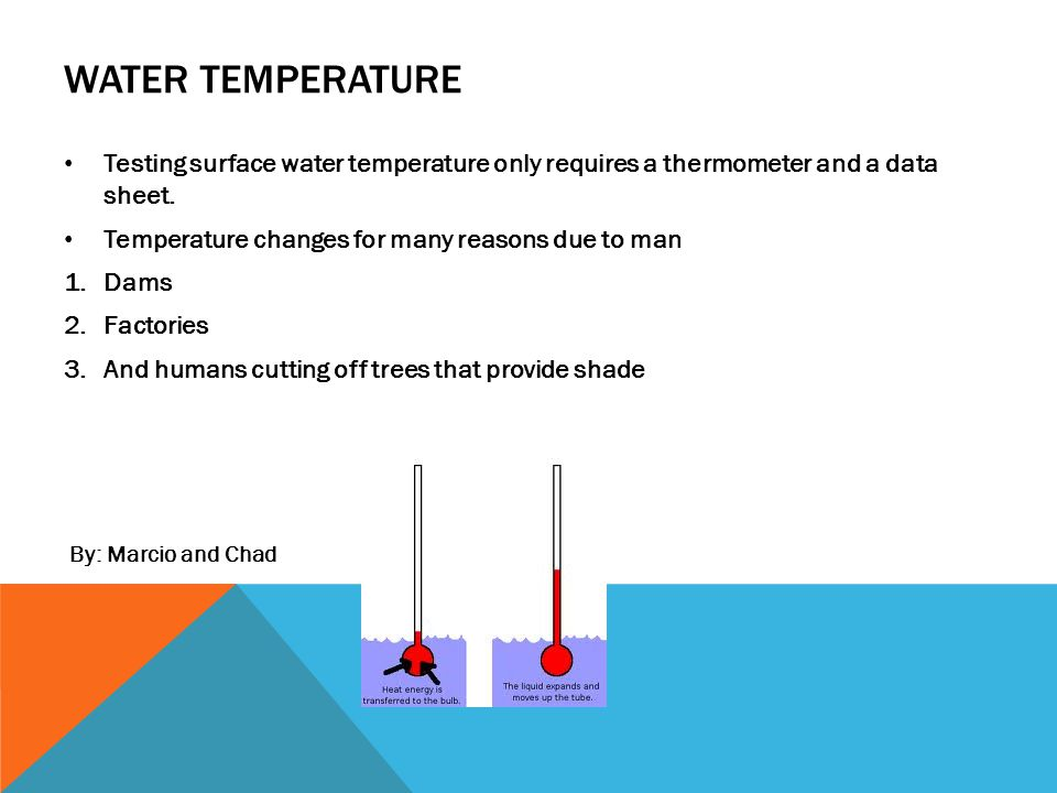 WATER TEMPERATURE Testing surface water temperature only requires a thermometer and a data sheet.