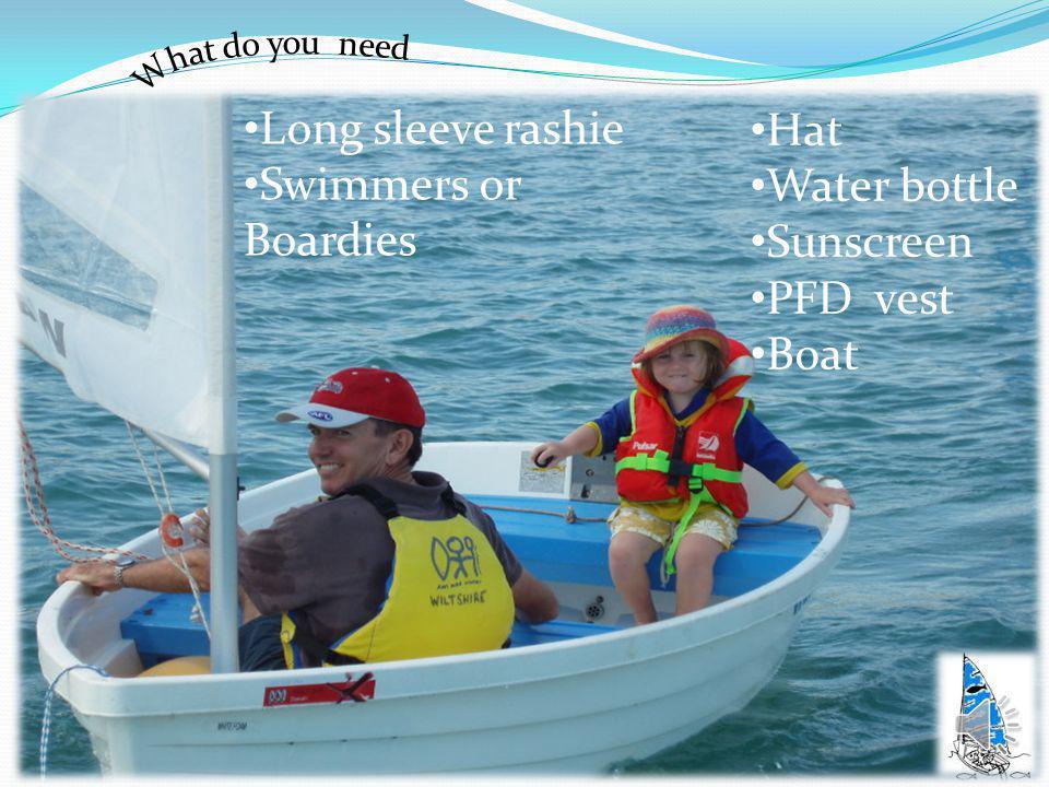 Long sleeve rashie Swimmers or Boardies Hat Water bottle Sunscreen PFD vest Boat