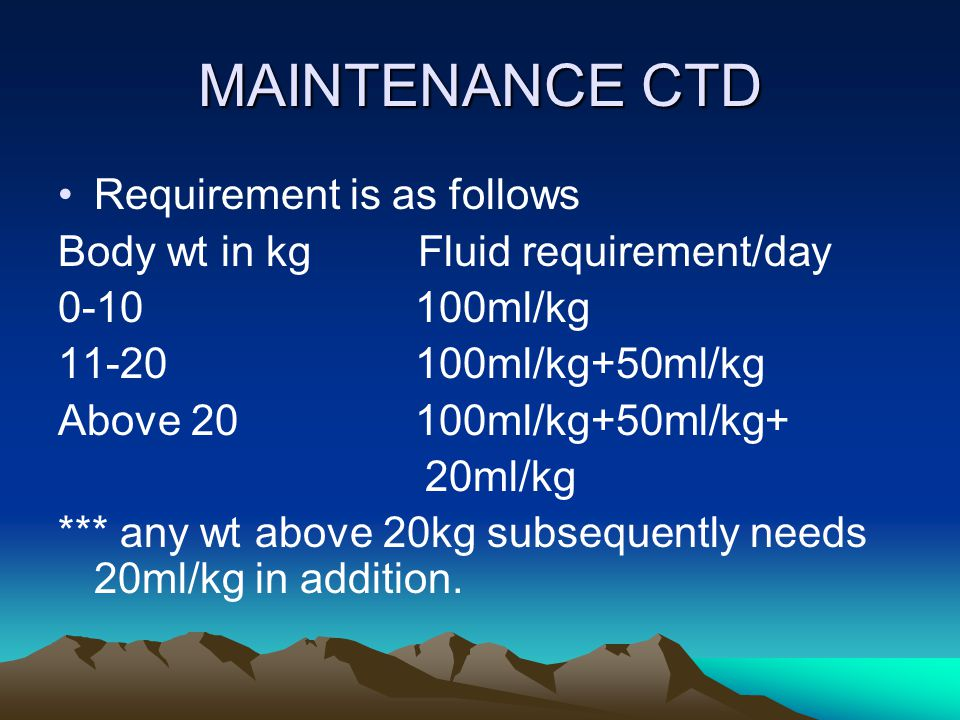 MAINTENANCE CTD Requirement is as follows Body wt in kg Fluid requirement/day 0-10 100ml/kg 11-20 100ml/kg+50ml/kg Above 20 100ml/kg+50ml/kg+ 20ml/kg