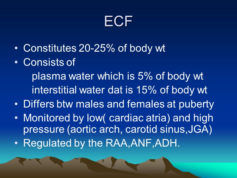 ECF Constitutes 20-25% of body wt Consists of plasma water which is 5% of body wt interstitial water dat is 15% of body wt Differs btw males and femal
