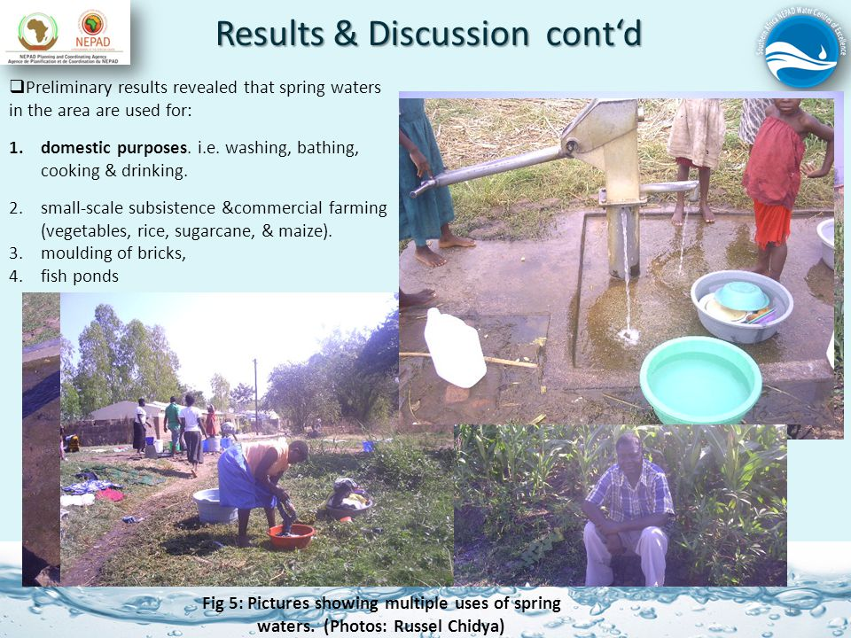 Results & Discussion contd 12 Preliminary results revealed that spring waters in the area are used for: 1.domestic purposes.