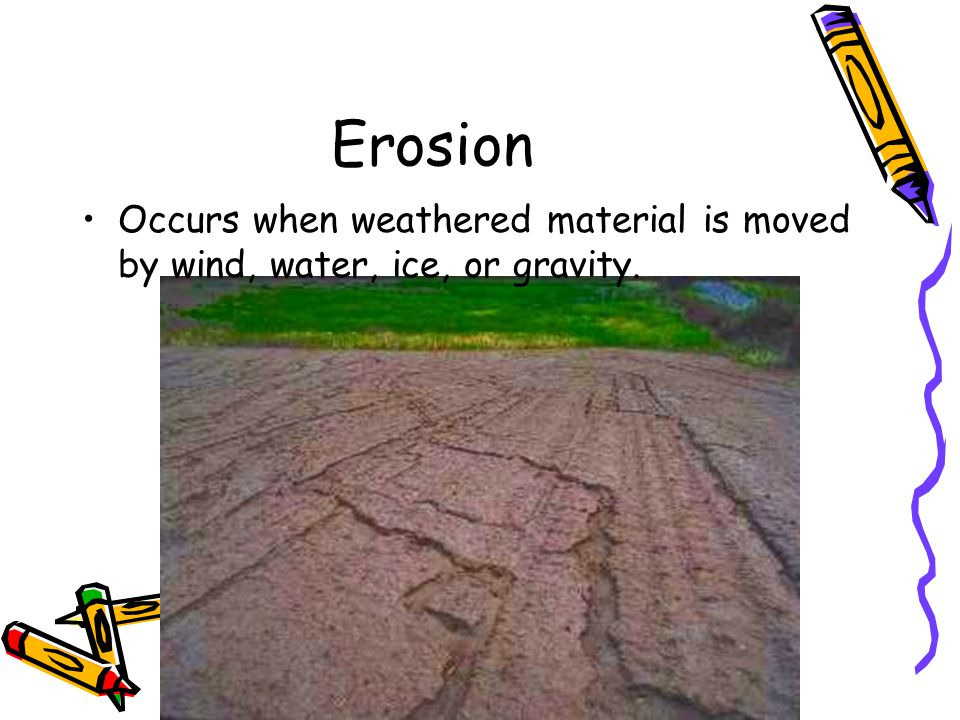 Erosion Occurs when weathered material is moved by wind, water, ice, or gravity.