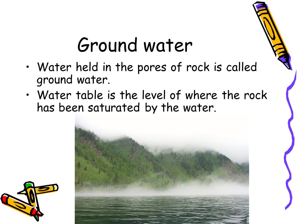 Ground water Water held in the pores of rock is called ground water. Water table is the level of where the rock has been saturated by the water.