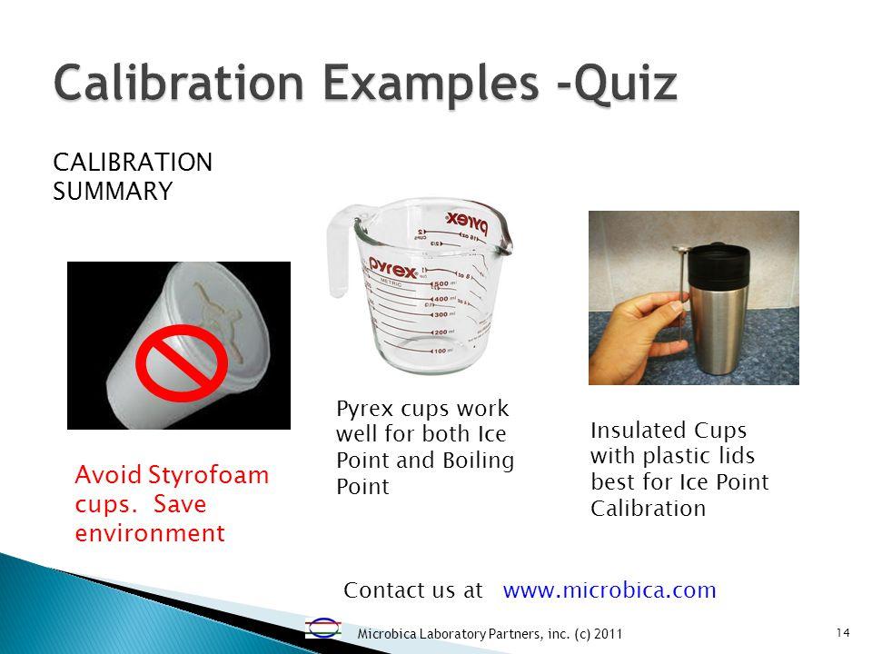 Microbica Laboratory Partners, inc. (c) 2011 14 CALIBRATION SUMMARY Avoid Styrofoam cups.